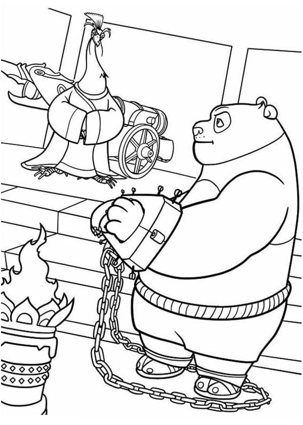600x841 Po Being Handcuffed In Kung Fu Panda Coloring Page Po Being