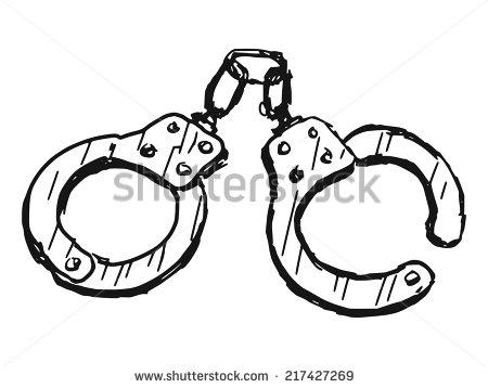 450x358 Hand Drawn, Sketch Illustration Of Handcuffs Httpwww