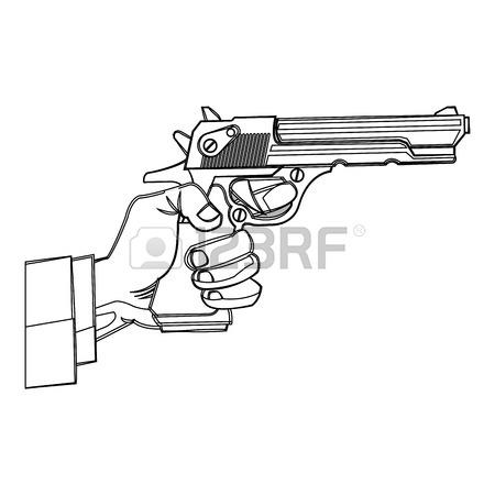 450x450 Gun Icon. Pistol Weapon Handgun Danger And Firearm Theme. Isolated