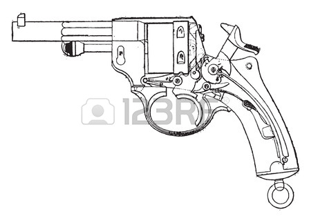 450x323 Gun Revolver, Model 1873, View From The Deck, Vintage Engraved