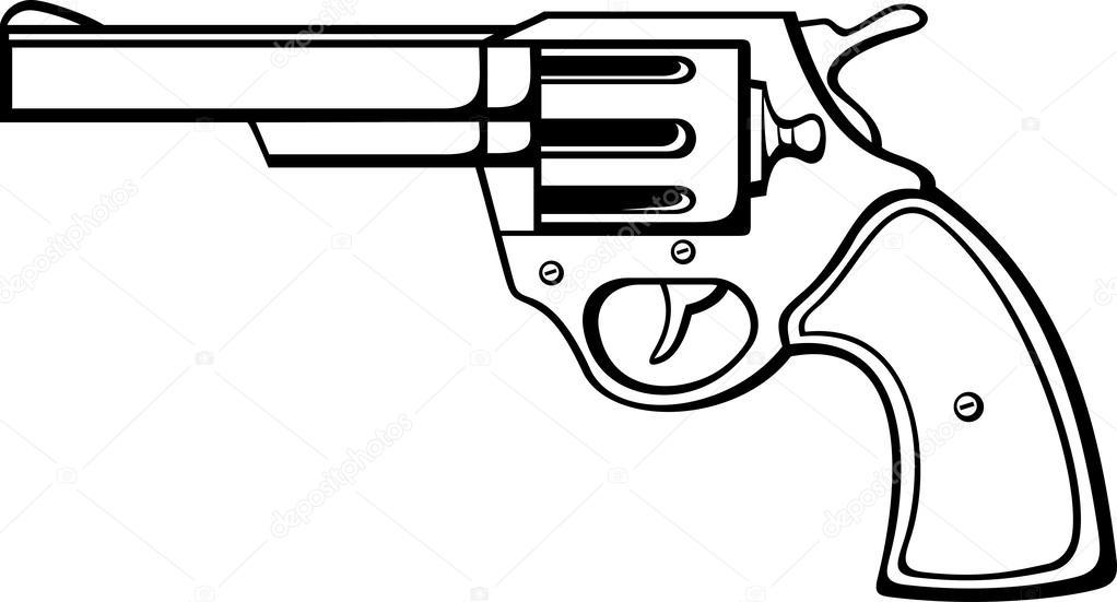 1022x551 Handgun (Pistol, Pistol Gun, Old Revolver) Stock Vector