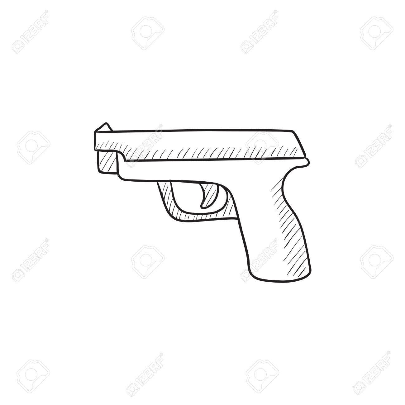 1300x1300 Handgun Vector Sketch Icon Isolated On Background. Hand Drawn