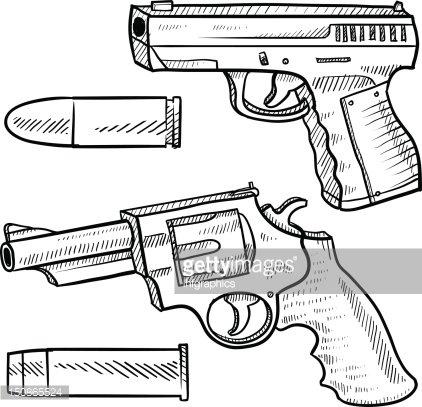 422x407 Handguns And Bullets Sketch Premium Clipart