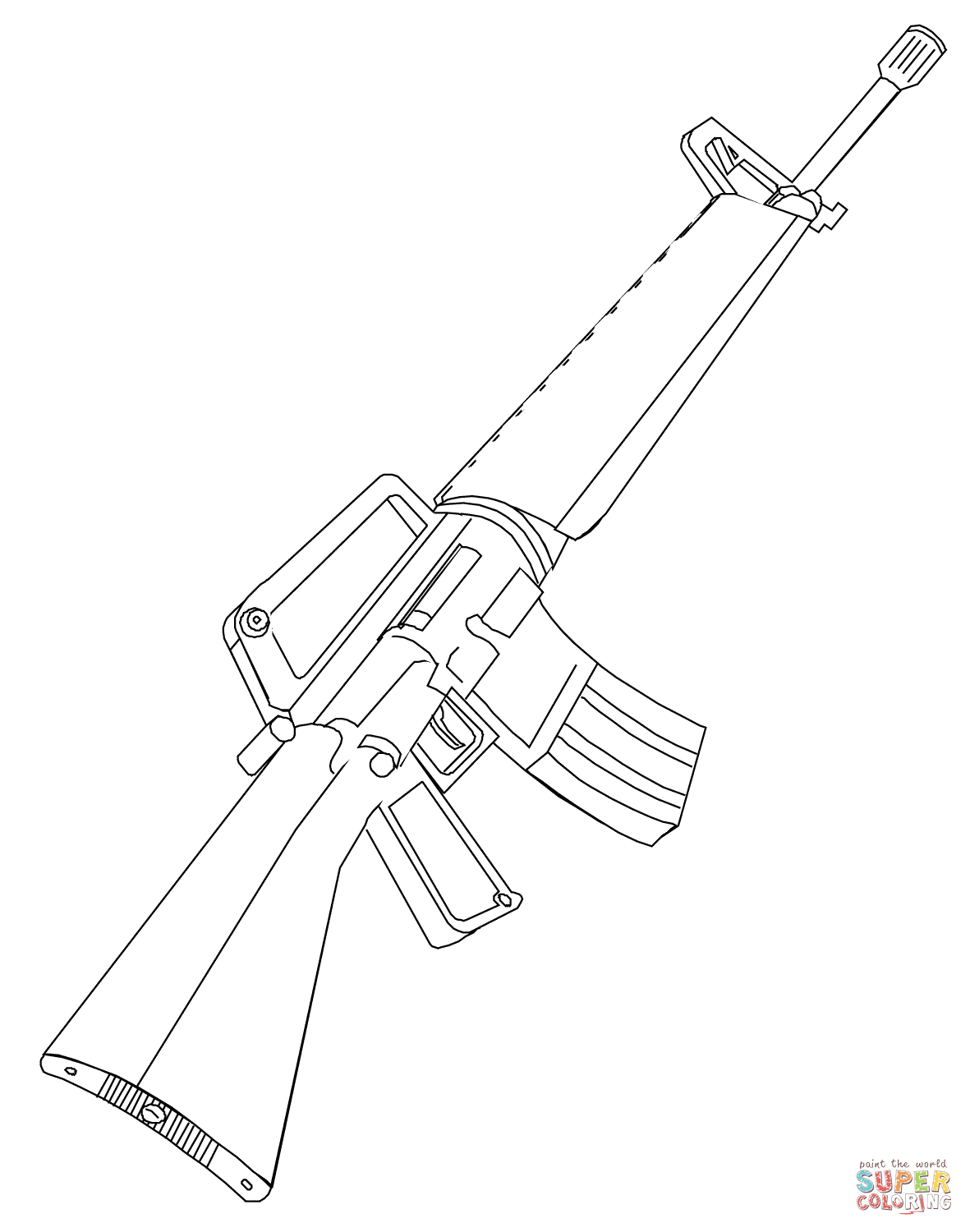 1181x1500 M16 Rifle Coloring Page Free Printable Coloring Pages