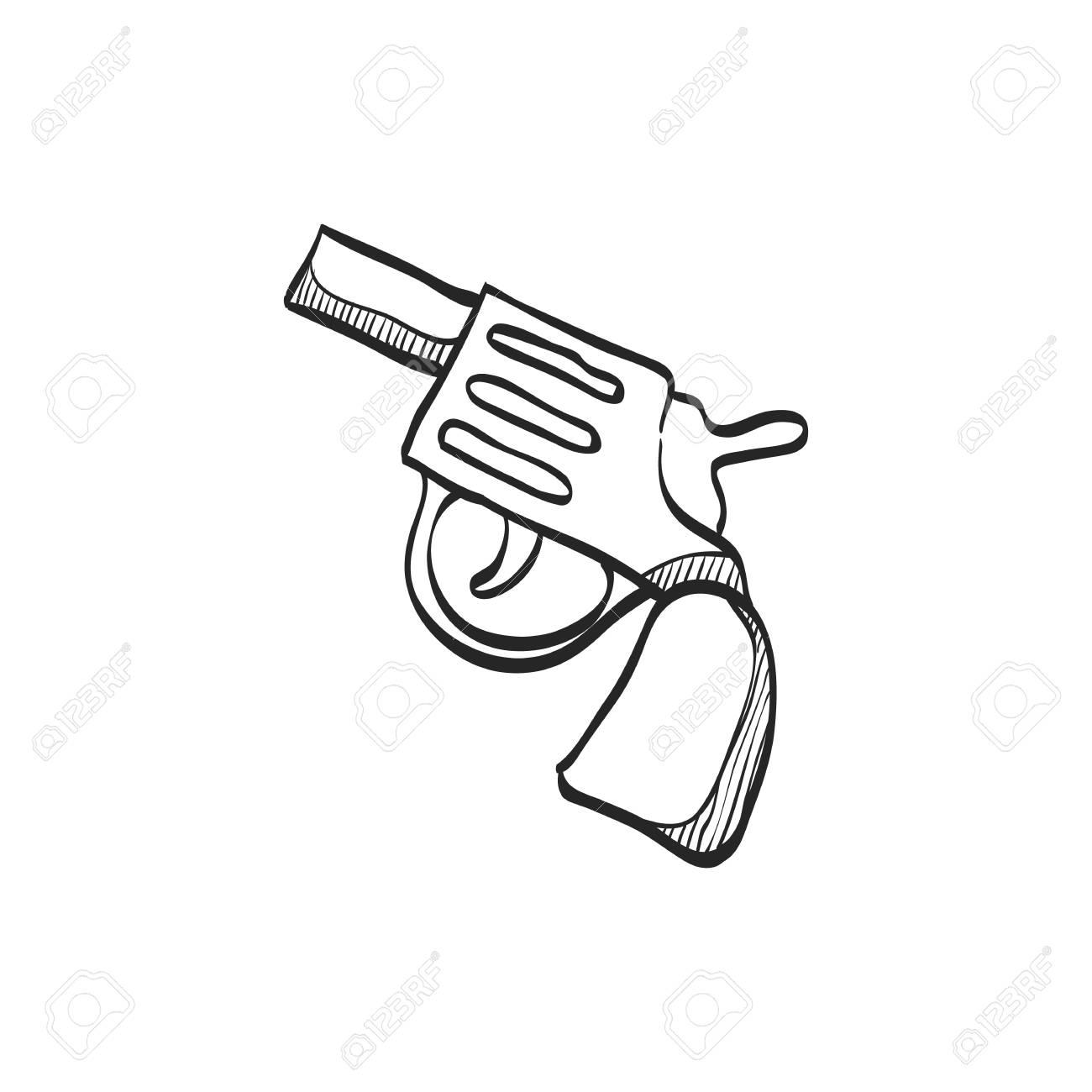 1300x1300 Revolver Gun Icon In Doodle Sketch Lines. Handgun Danger Police