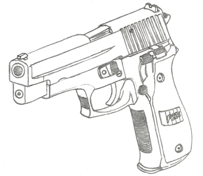 400x347 Sig Sauer P226 Drawing By Fewes