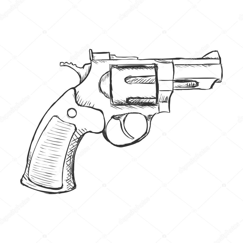 1024x1024 Sketch Revolver Pistol Stock Vector Nikiteev
