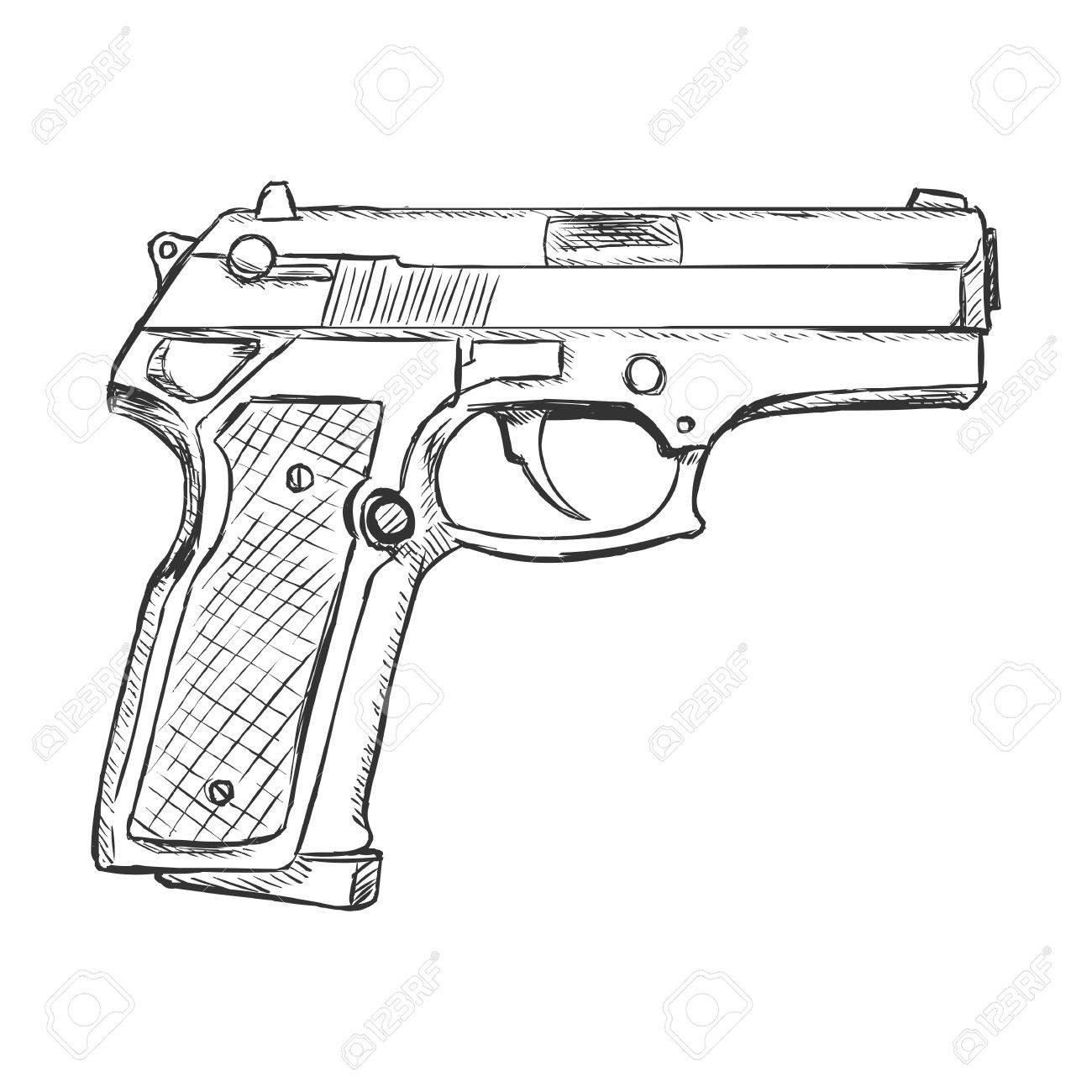 1300x1300 Vector Sketch Beretta Pistol On White Background Royalty Free