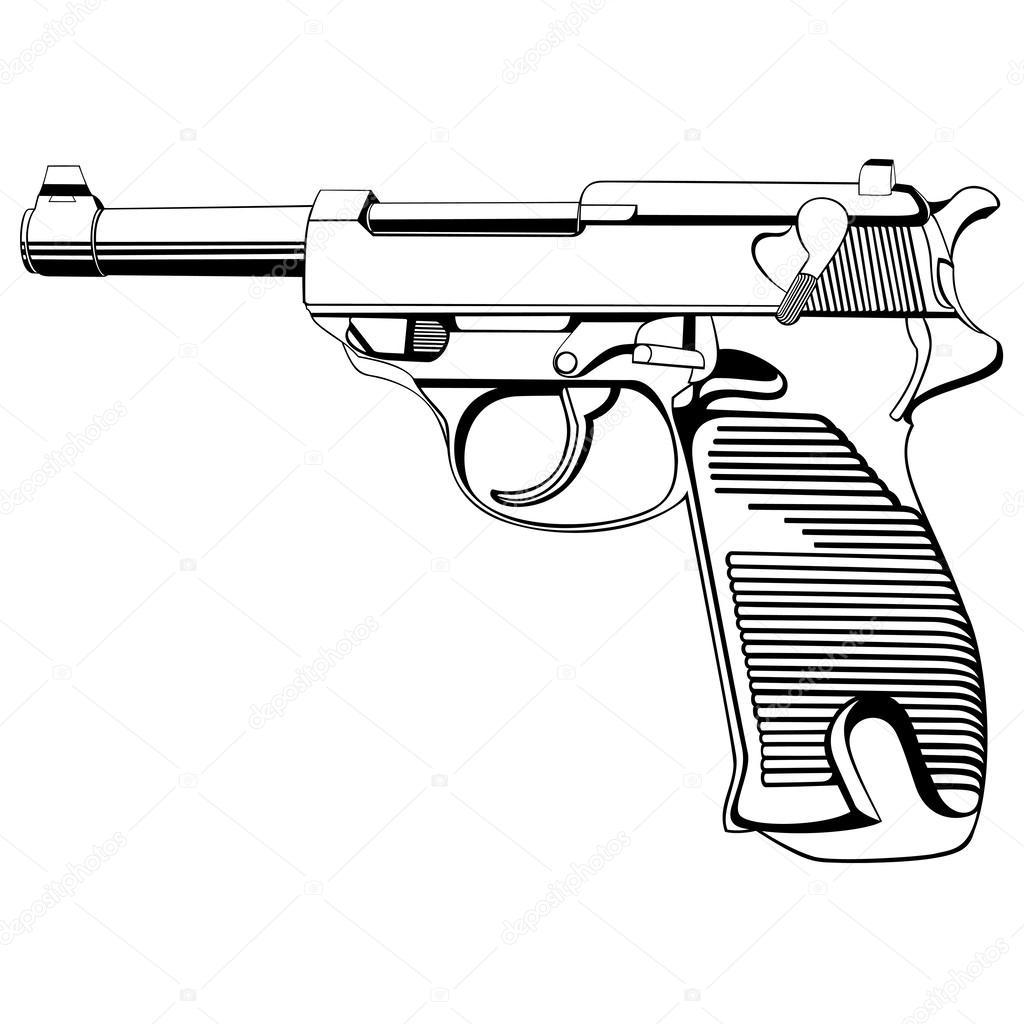 1024x1024 Black Pistol On A White Background Stock Vector Umlaut