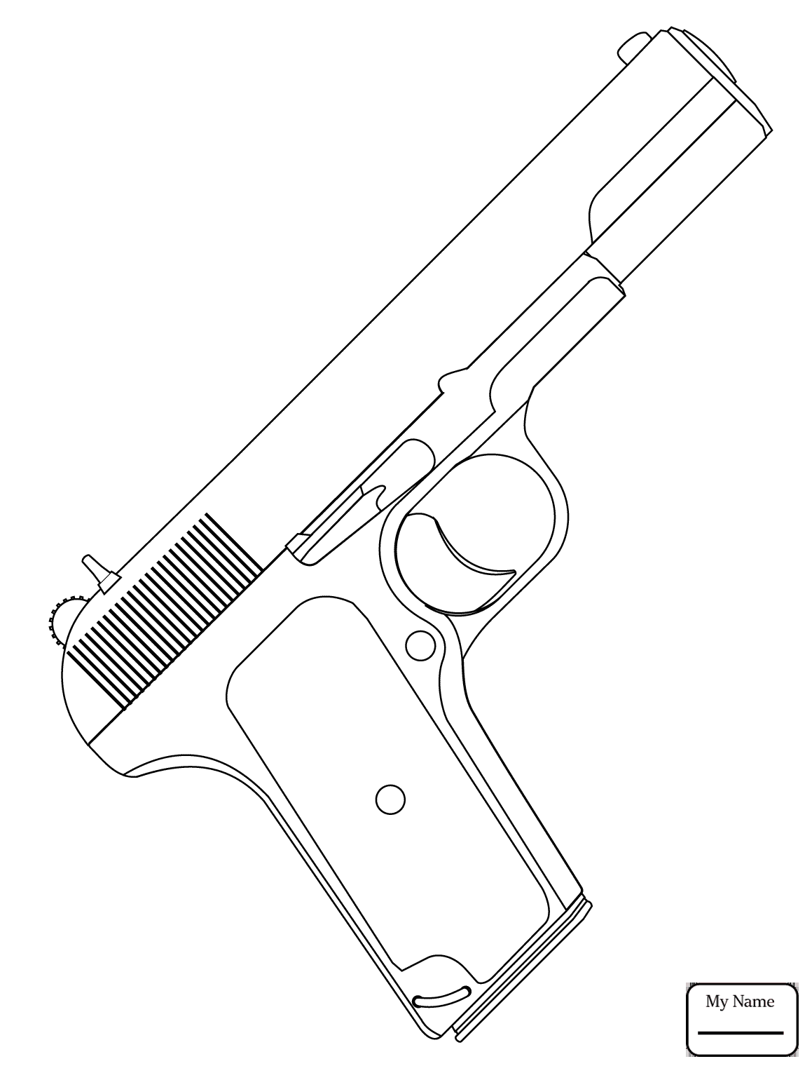 1159x1530 Military Beretta Pistol Guns Coloring Pages