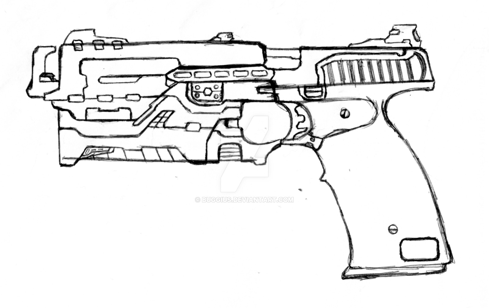 1600x1010 Futuristic Automatic Pistol Ap 18c By Buggius