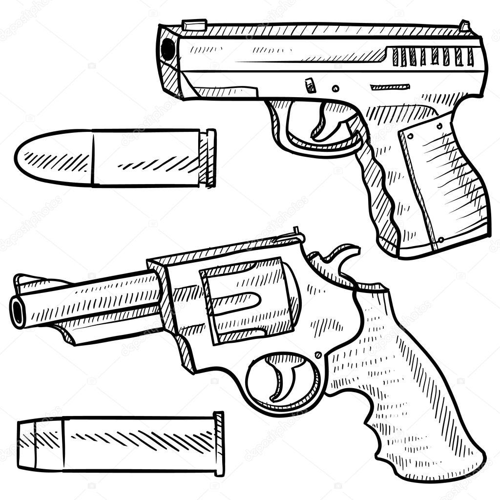 1024x1024 Handguns Sketch Stock Vector Lhfgraphics