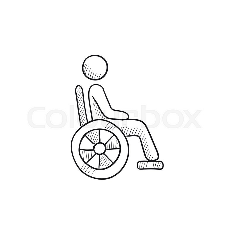 800x800 Disabled Person Vector Sketch Icon Isolated On Background. Hand