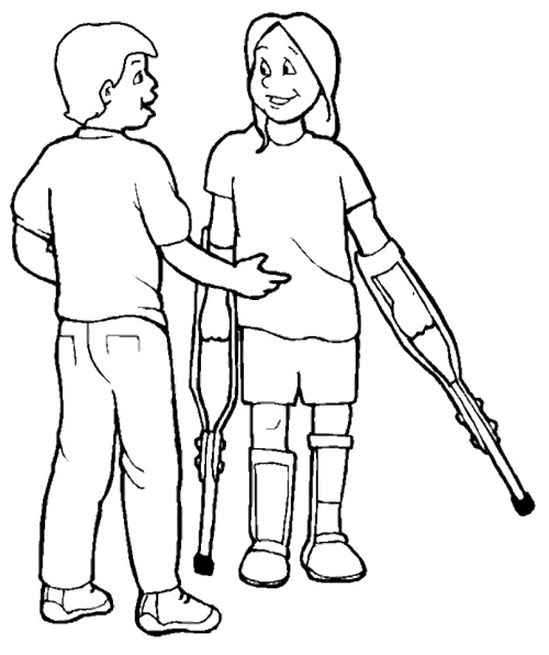 500x596 People Disabilities With Friend Coloring Page Disabilities