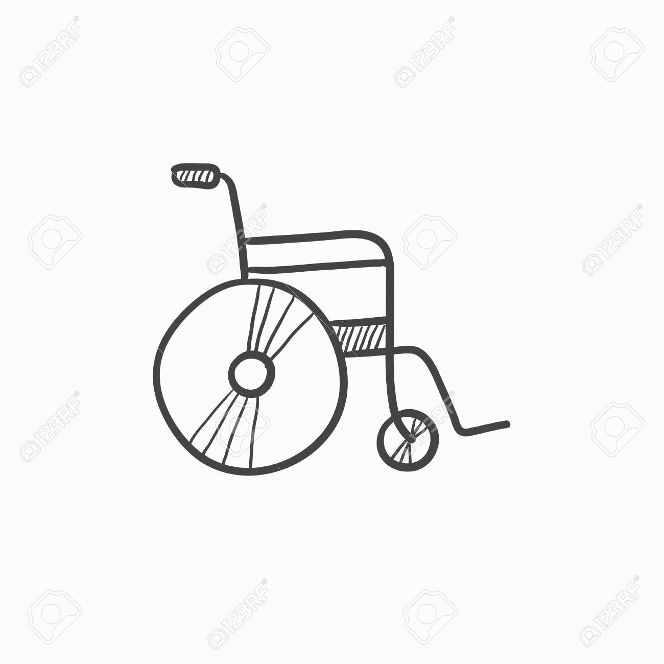 1300x1300 Wheelchair Vector Sketch Icon Isolated On Background. Hand Drawn