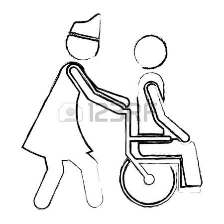 450x450 Blurred Silhouette Nurse Helping Another Person Push A Wheelchair