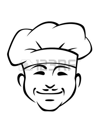 345x450 Head Of A Smiling Chef Wearing A Traditional White Toque