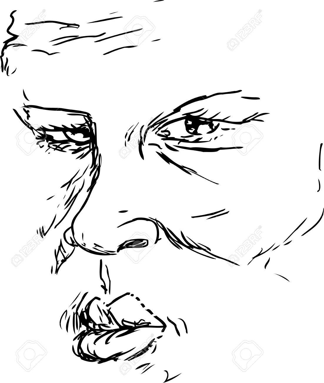 1102x1300 Outlined Drawing Of Older Serious Black Man Face Royalty Free