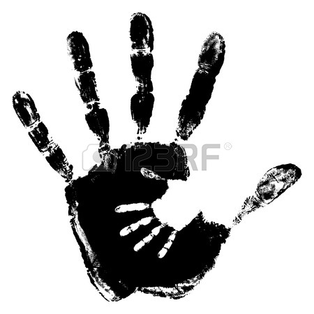 450x450 Concept Or Conceptual Cute Black Paint Hand Of Mother Child