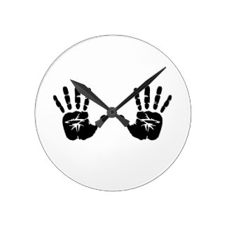 324x324 Handprint Wall Clocks Zazzle