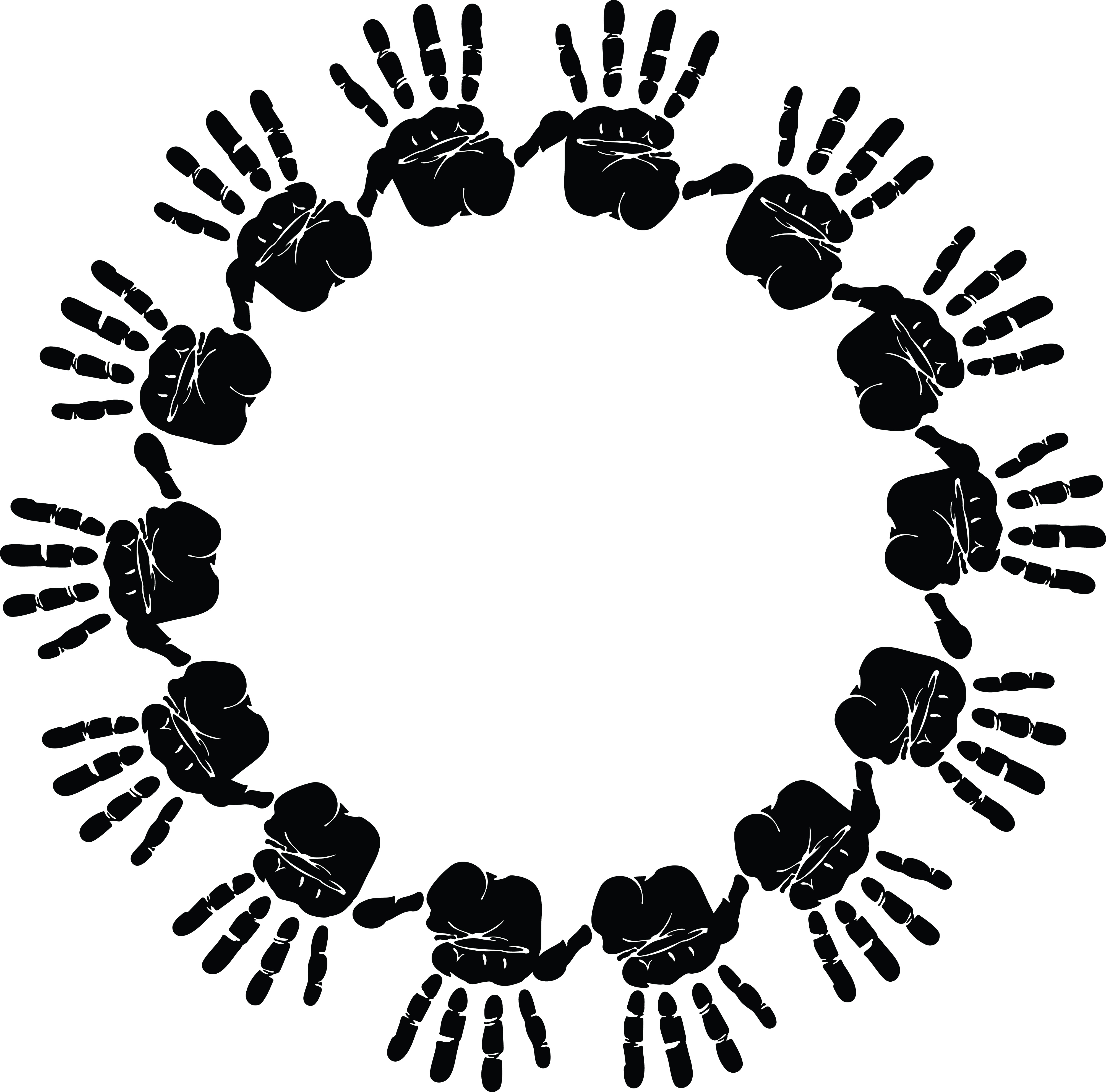 4000x3948 Clipart Of A Round Frame Of Handprints In Black And White
