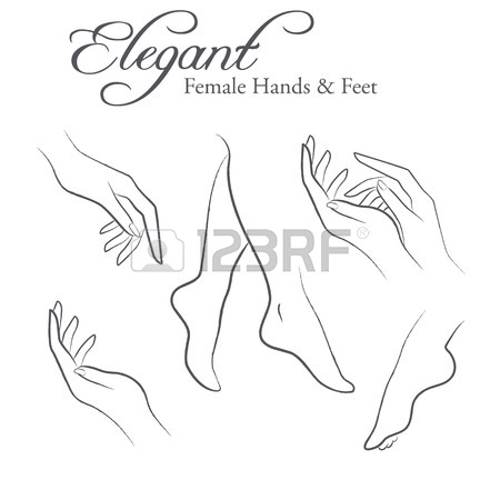 450x450 Set Of Elegant Silhouettes In A Linear Sketch Style (Female Hands