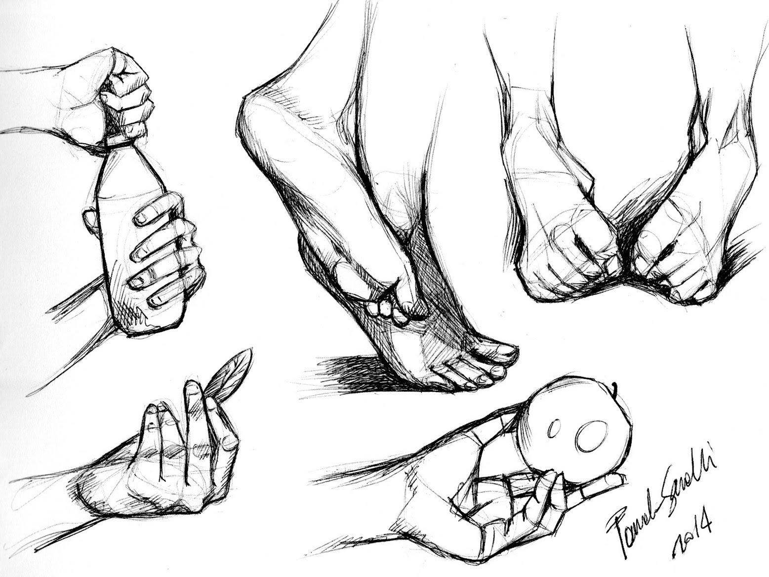 1557x1168 Disegni Speed Di Mani E Piedi, Con Penna Biro. Sketch Drawing