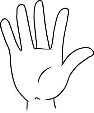 302x365 Drawn Finger Hand Palm