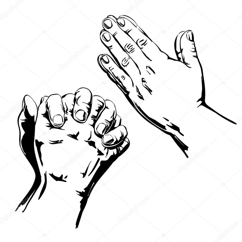 1024x1024 Praying Hands Stock Vector Vladischern