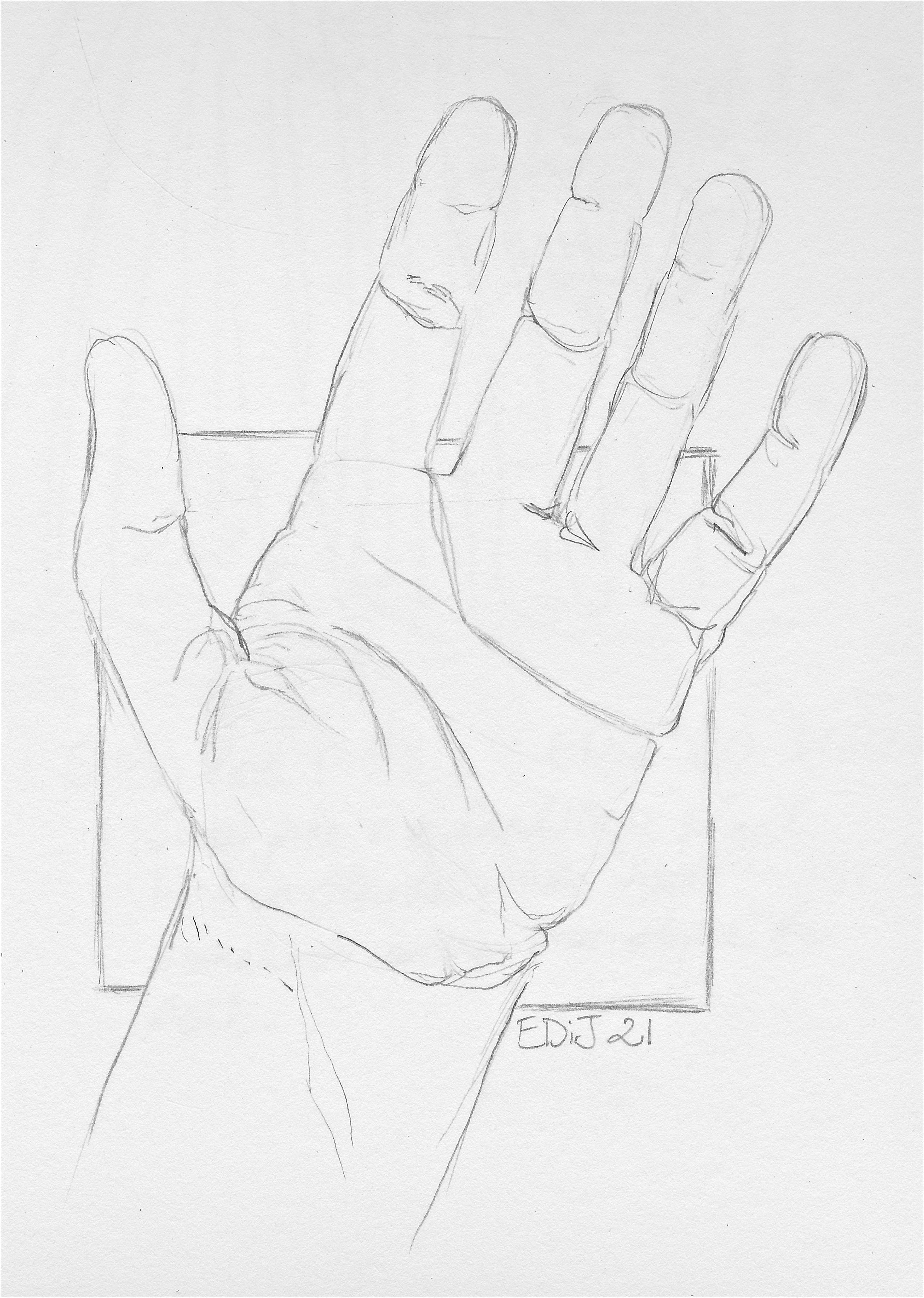 3057x4294 Drawn Hand Gesture Left Hand Drawing
