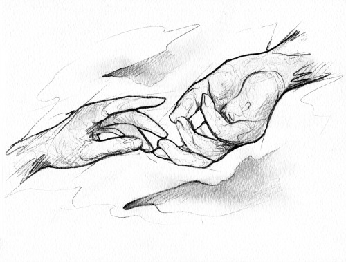 500x379 Hands Sketch (Confess Show) Print