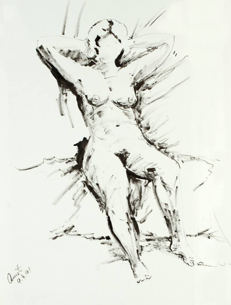 770x1013 Saatchi Art Seated Figure With Hands Behind The Head Drawing By