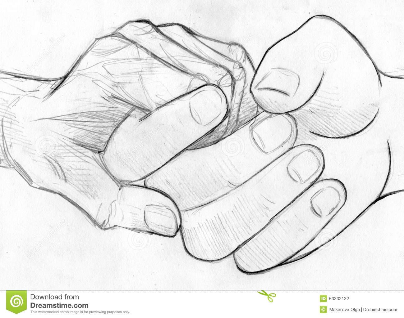 1300x1025 Hand Pencil Sketch Holding Elderly Hand