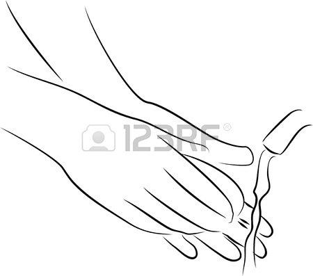 450x397 Isolated Drawing Of A Hand Gesture Beckoning To Come To Him Stock