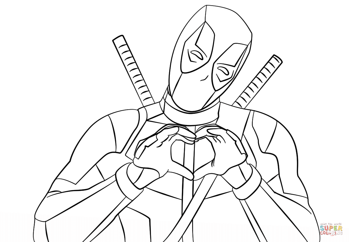 1186x824 Deadpool Making Heart Shape With Hands Coloring Page Free