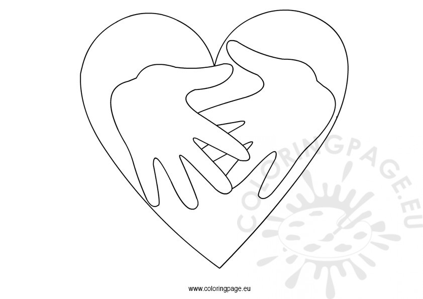 842x595 Hands And Heart Template Coloring Page