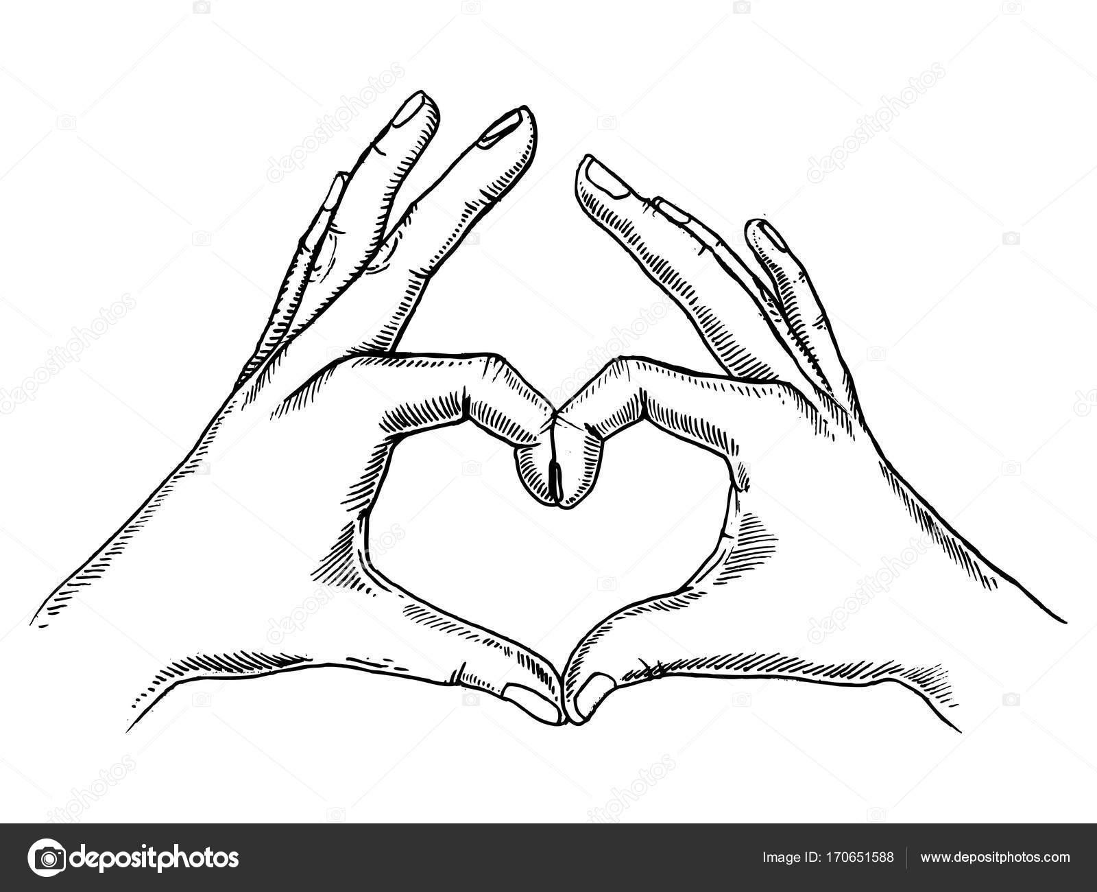 1600x1300 Hands Making Heart Sign Engraving Vector Stock Vector