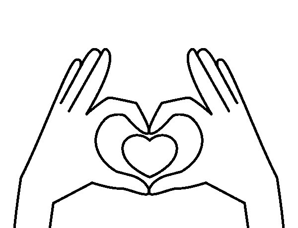 600x460 Heart With Hands Coloring Page