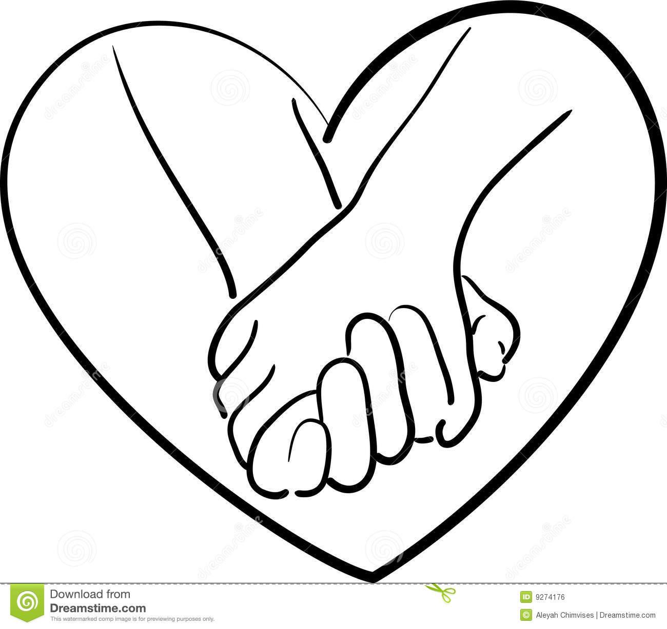 1300x1227 Holding Hands Heart Drawings Clipart Panda