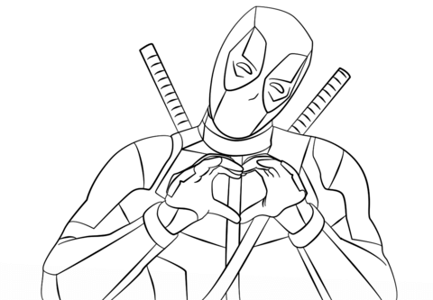 480x333 Deadpool Making Heart Shape With Hands Coloring Page Free