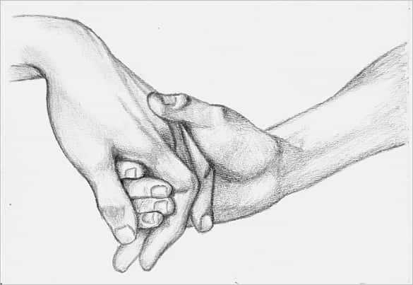 Hands Holding A Heart Drawing