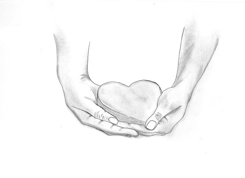 812x591 Hand Sketch Of Hands Holding A Heart. My Style
