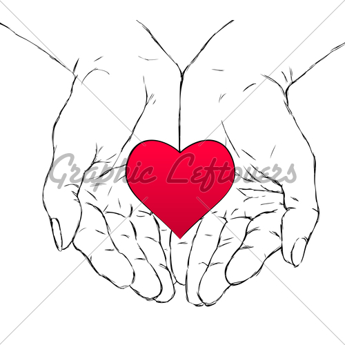 500x500 Hands And Heart Gl Stock Images