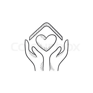 320x320 Hands Holding House Symbol With Heart Shape Sketch Icon For Web