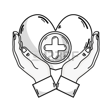 450x450 Outline Drawing Of Hands Holding A Heart Shape Medicine
