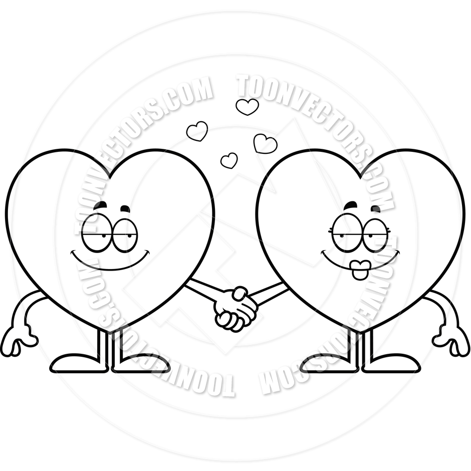 940x940 Cartoon Hearts Holding Hands (Black And White Line Art) By Cory