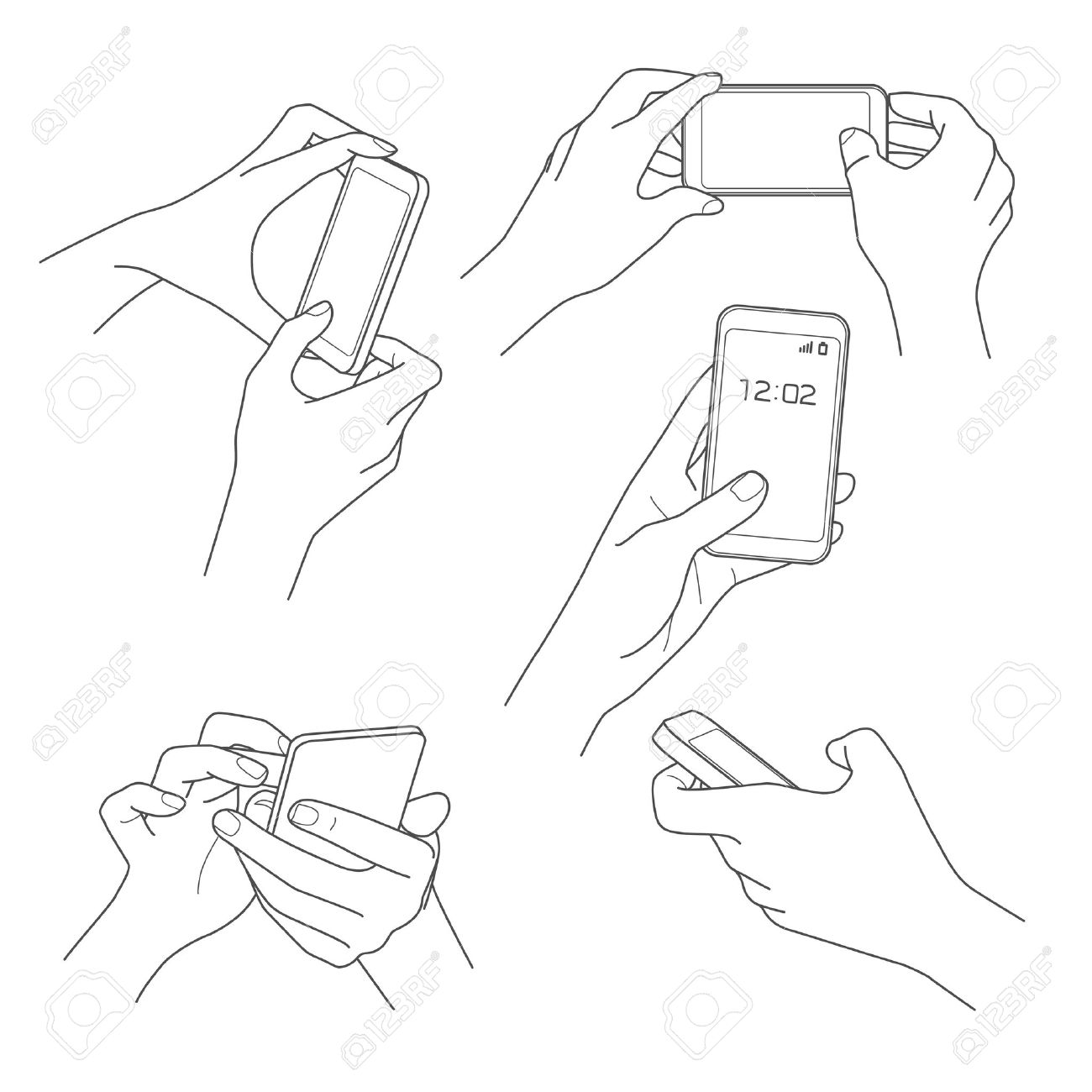 1300x1300 Hand Holding Smartphone Sketch Vector Illustrations Royalty Free