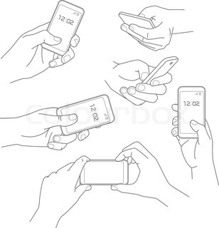 308x320 Hand Holding Smartphone Sketch Vector Illustrations Collection