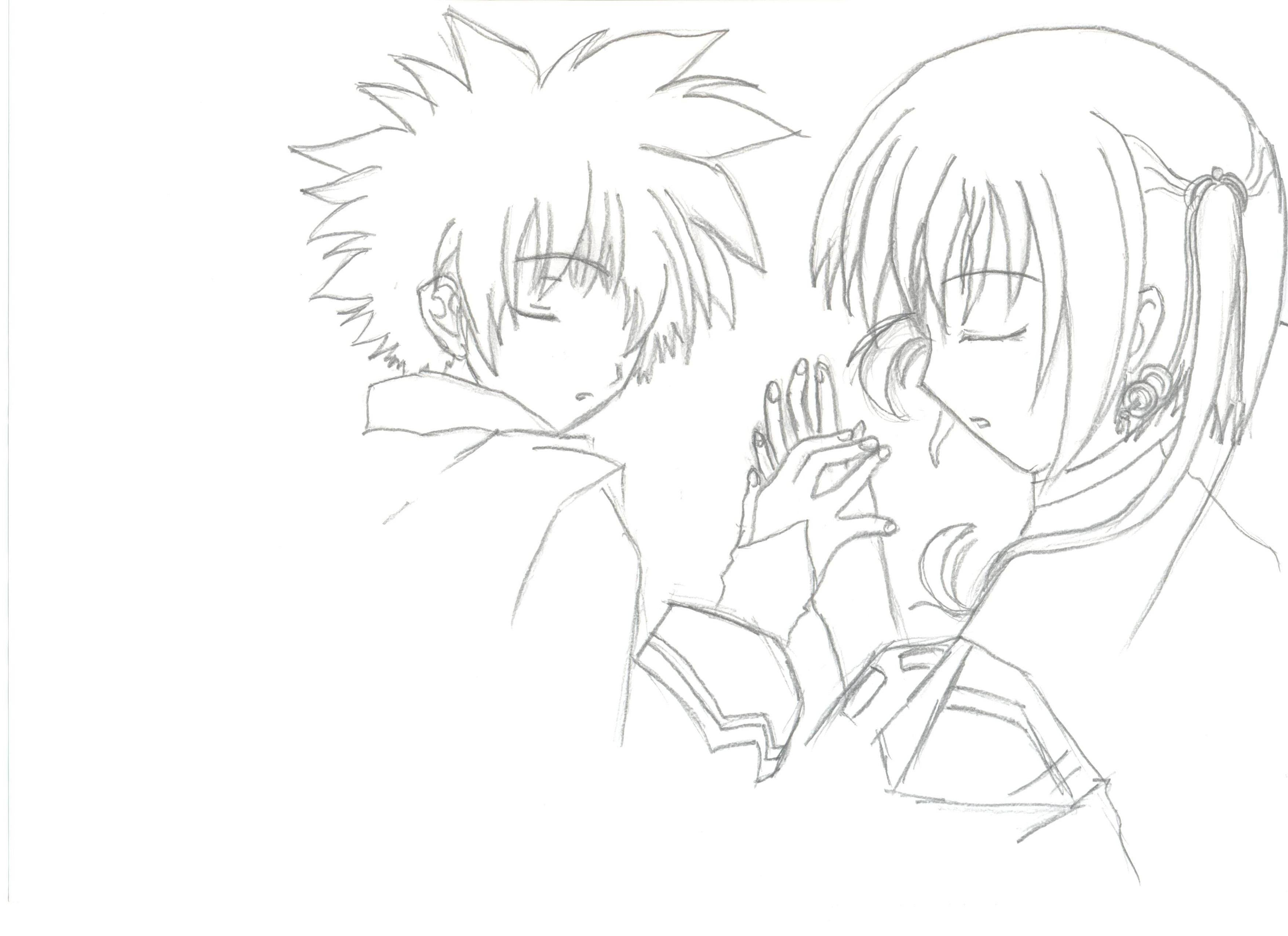 3510x2550 Holding Hands Sketch Anime