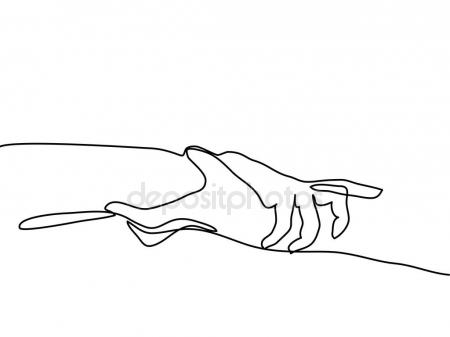 450x337 Continuous Line Drawing Of Holding Hands Together Stock Vector